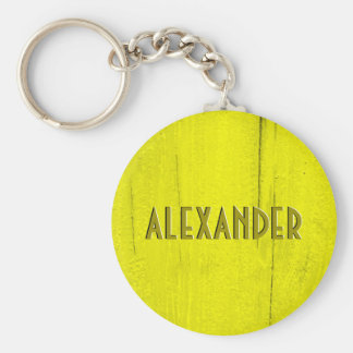 Yellow Painted Wood Faux Carved Name Basic Round Button Keychain