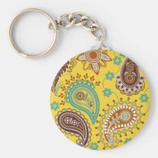 Yellow Paisley Keychain
