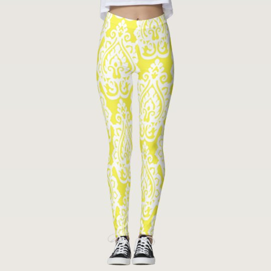 Yellow Paisley Patterned Leggings