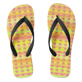 Yellow Palette Stripes with Red Elephant Pattern Flip Flops