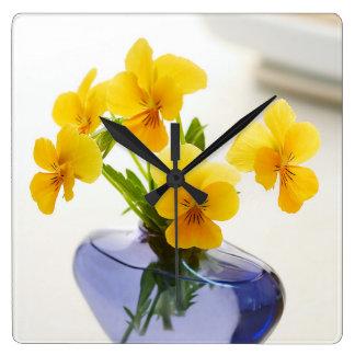 Yellow Pansies Purple Vase Pansy Flowers Spa Bath Wall Clocks