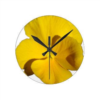 Yellow Pansy 201711f Round Clock