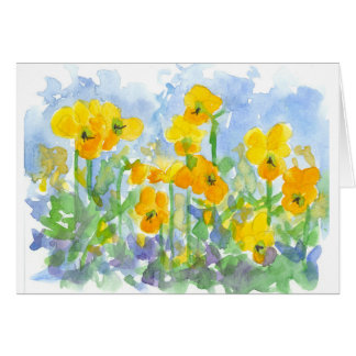 Yellow Pansy Flowers Watercolor Art Thank You Card