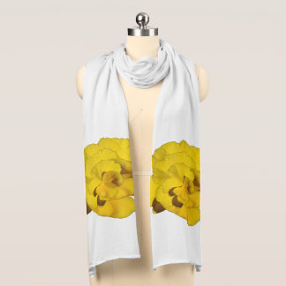 Yellow Pansy shown on White Scarf