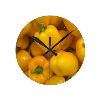 Yellow paprika vegetable pattern round clock