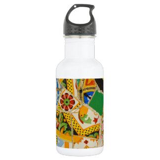 Yellow Parc Guell Tiles in Barcelona Spain 532 Ml Water Bottle