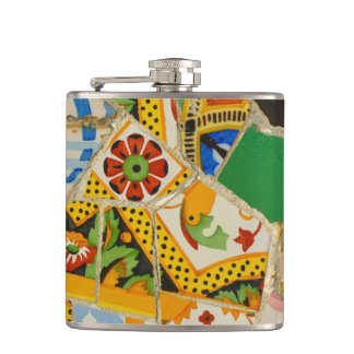 Yellow Parc Guell Tiles in Barcelona Spain Hip Flask