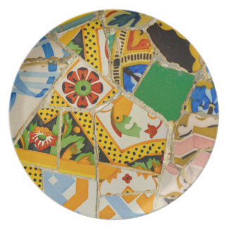 Yellow Parc Guell Tiles in Barcelona Spain Party Plate