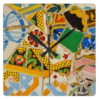 Yellow Parc Guell Tiles in Barcelona Spain Wallclock