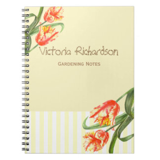 Yellow Parrot Tulips Flower Floral Art Notebooks