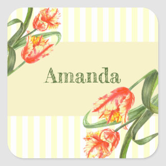 Yellow Parrot Tulips Flower Floral Art Square Sticker