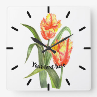 Yellow Parrot Tulips Flower Floral Art Square Wall Clock