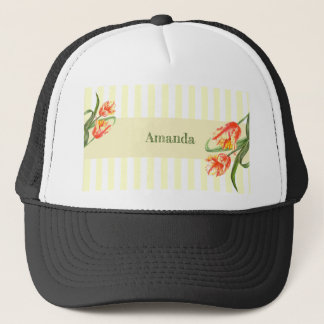 Yellow Parrot Tulips Flower Floral Art Trucker Hat