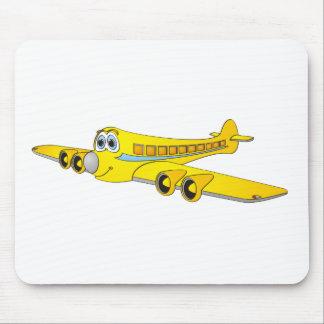 Yellow Passenger Jet O Cartoon Mouse Pad