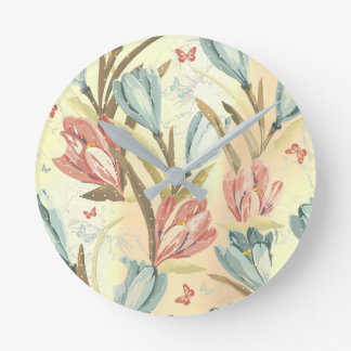 Yellow Pastel Floral  Iris Pearly Blue Ivory Brown Round Clock