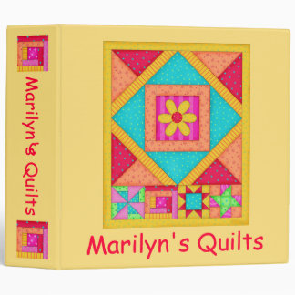 Yellow Patchwork Name Personalized Quilt Notebook 3 Ring Binder