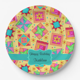 Yellow Patchwork Quilt Block Name Happy Birthday 9 Inch Paper Plate
