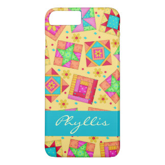 Yellow Patchwork Quilt Block Name Personalized iPhone 8 Plus/7 Plus Case
