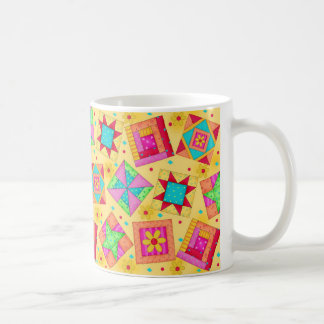 Yellow Patchwork Quilt Design Mug