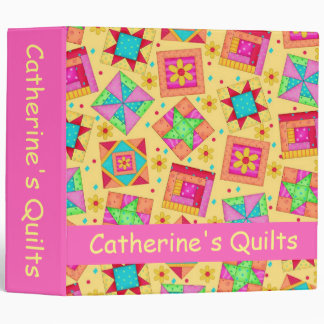 Yellow Patchwork Quilt Name Personalized Album Binder