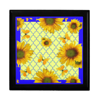 Yellow Pattern Butterfly & Sunflowers Gift Box