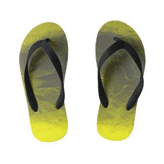 yellow pattern kid's flip flops