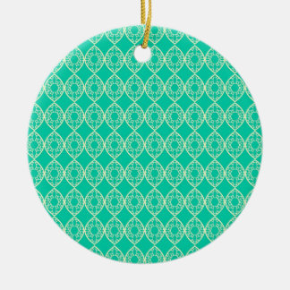 Yellow Pattern with Green Background Round Ceramic Ornament