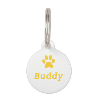 Yellow Paw Print Pet Tag
