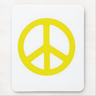 YELLOW PEACE SIGN - MOUSE MATS