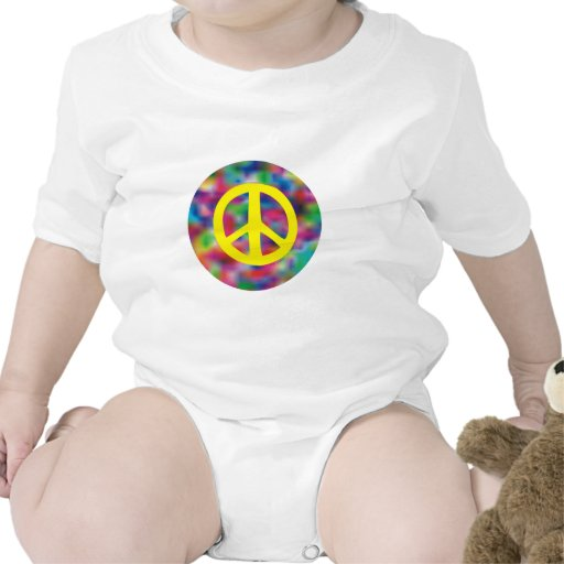 Yellow Peace Sign on Rainbow Colored Background Rompers