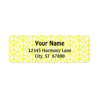 Yellow Peace Sign on White Custom Address Label