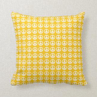 Yellow Peace sign throw pillow