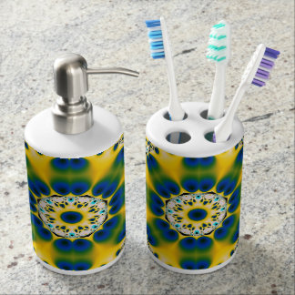Yellow Peacock Toothbrush Bath Set