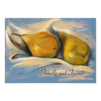 Yellow Pears on Blue Paper Drawing Thanksgiving Card