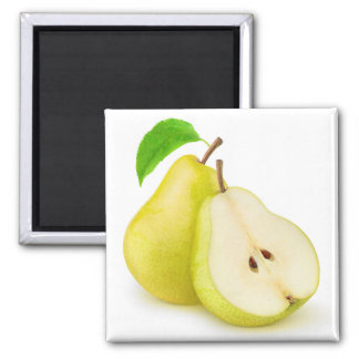 Yellow pears square magnet