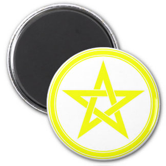yellow pentacle 2 inch round magnet