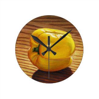 Yellow Pepper Round Clock