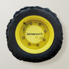 yellow personalized name tractor wheel tire round pillow