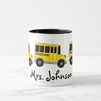 Yellow Personalized Teacher School Bus Driver Mug
