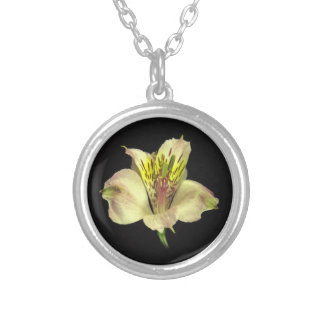 Yellow Peruvian Lily Necklace. Silver Plated Necklace