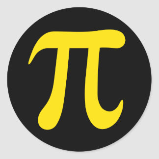 Yellow pi mathematical symbol on black stickers