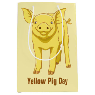 Yellow Pig Day July 17 Cute Piglet Medium Gift Bag