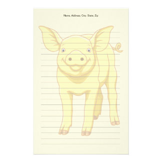 Yellow Pig Day July 17 Cute Piglet Stationery
