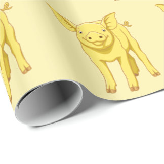 Yellow Pig Day July 17 Cute Piglet Wrapping Paper