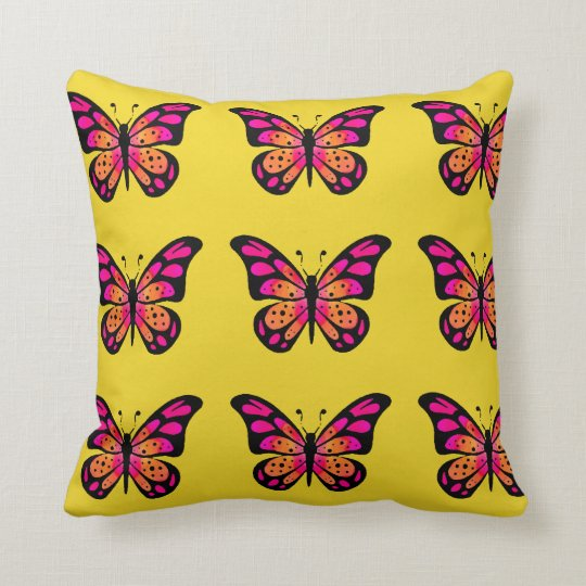 Yellow Pillow with Pink Vintage Butterfly