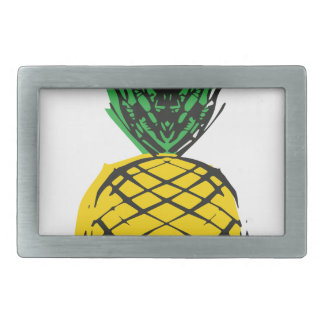 YELLOW PINEAPPLE RECTANGULAR BELT BUCKLE