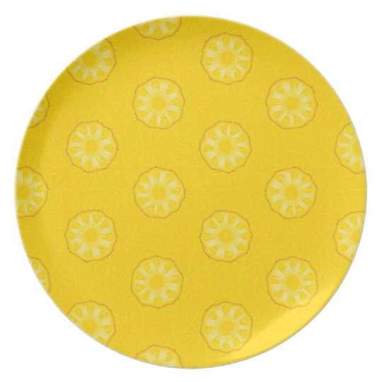 Yellow Pineapple Slices Pattern Plate