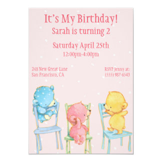 Yellow, Pink, and Blue Bears Birthday Card