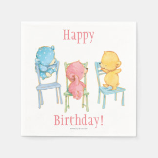 Yellow, Pink, and Blue Bears on Chairs Disposable Napkins