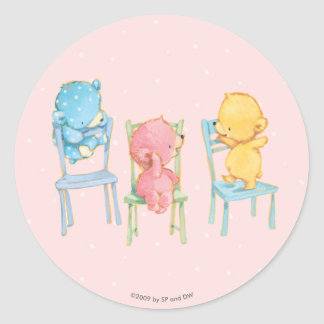 Yellow, Pink, and Blue Bears on Chairs Round Sticker